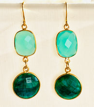 Load image into Gallery viewer, Chalcedony Emerald Drop Earrings