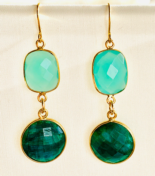 Chalcedony Emerald Drop Earrings