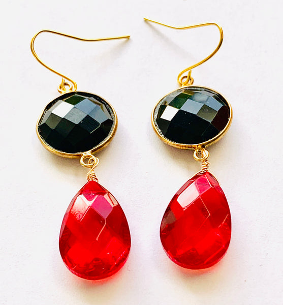 Black Onyx Ruby Quartz Drop Earrings