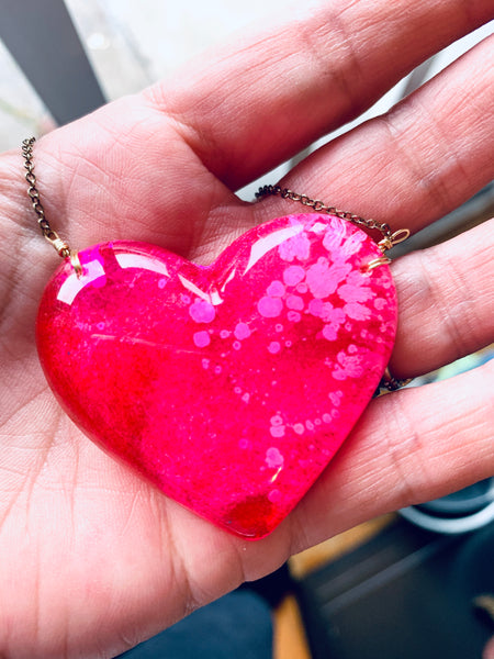 Pink Alcohol Ink Resin Necklace