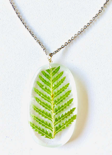 One Of a Kind Healing Fern Resin Necklace