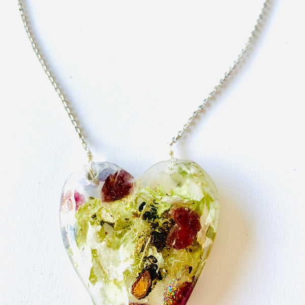 One of a Kind Resin Garnet Tanzanite Terrarium Heart Necklace