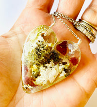 Load image into Gallery viewer, One of a Kind Resin Garnet Tanzanite Terrarium Heart Necklace