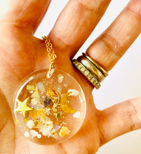 One Of a Kind Healing Stone Celestial Resin Necklace