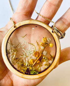Large Wood Bezel Resin Terrarium Pendant