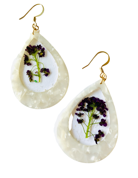 One of a Kind White Resin Purple Flower Earrings