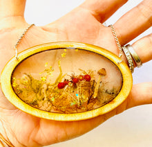 Load image into Gallery viewer, Large Wood Oval Bezel Resin Terrarium Necklace