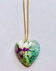 Blue Resin Heart Necklace