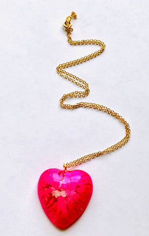Hot Pink Resin Heart Necklace