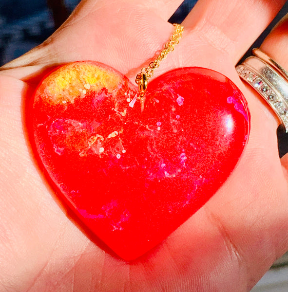 Red Alcohol Ink Resin Heart