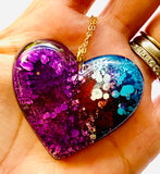 Purple Alcohol Ink Resin Heart