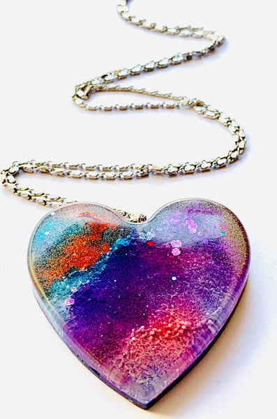 Large Alcohol Ink Resin Necklace