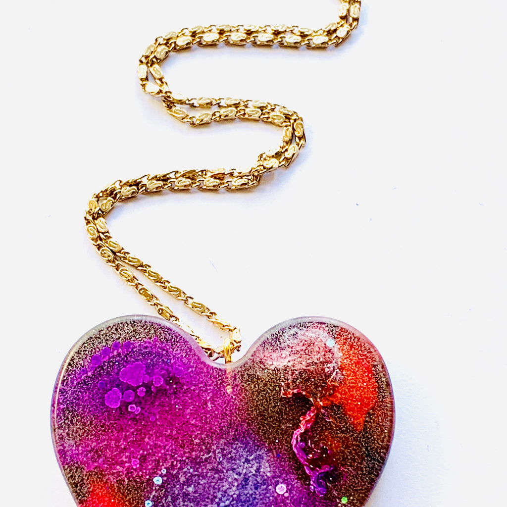 Large Rainbow Resin Heart Necklace