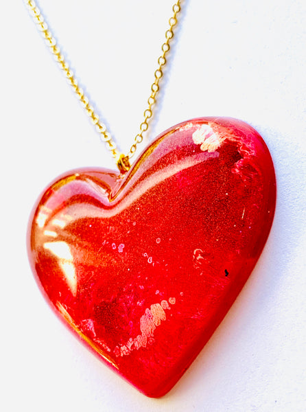 Red/Pink Alcohol Ink Resin Heart Necklace