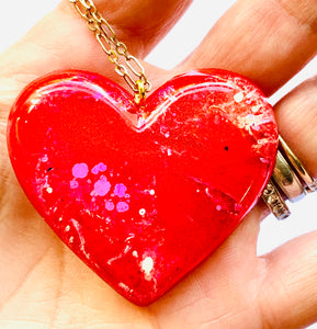 Red/Pink Resin Heart Necklace