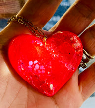 Load image into Gallery viewer, Red/Pink Resin Heart Necklace
