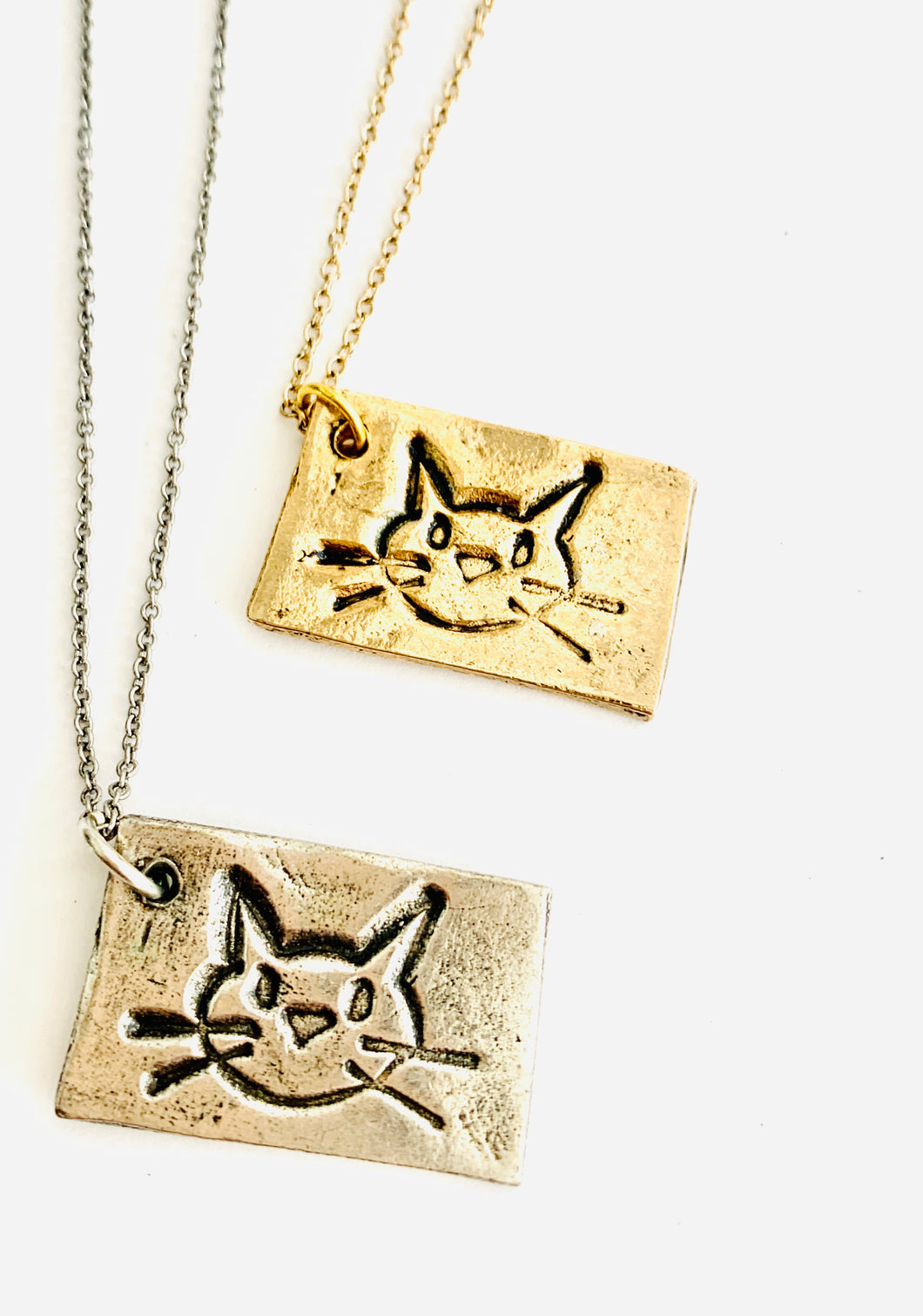Stamped Cat Necklace