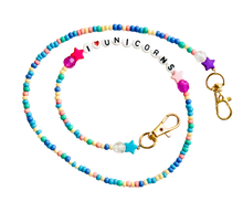 Load image into Gallery viewer, Pastel Beaded Mask Chain I Love Unicorns