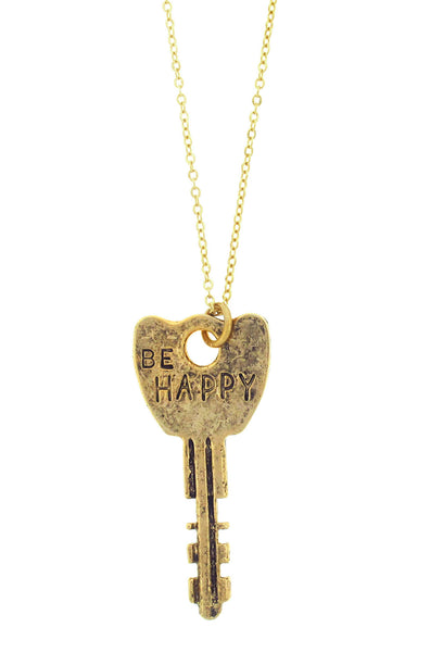 'Be Happy' Stamped Key Necklace