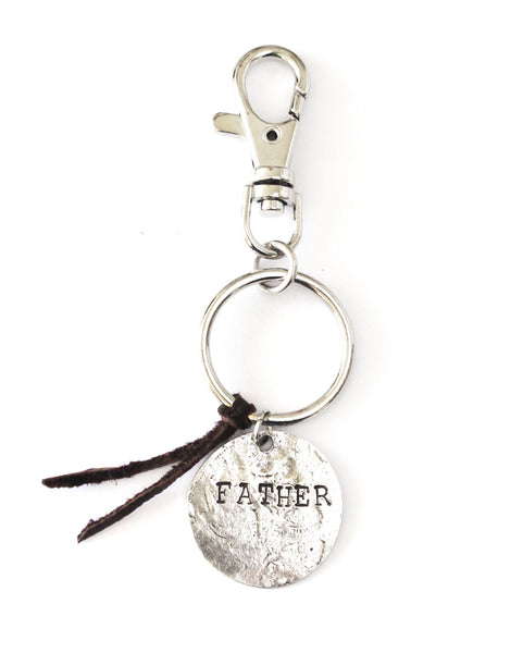 'Grandpa/Father' Double-Sided Dark Brown Leather Keychain