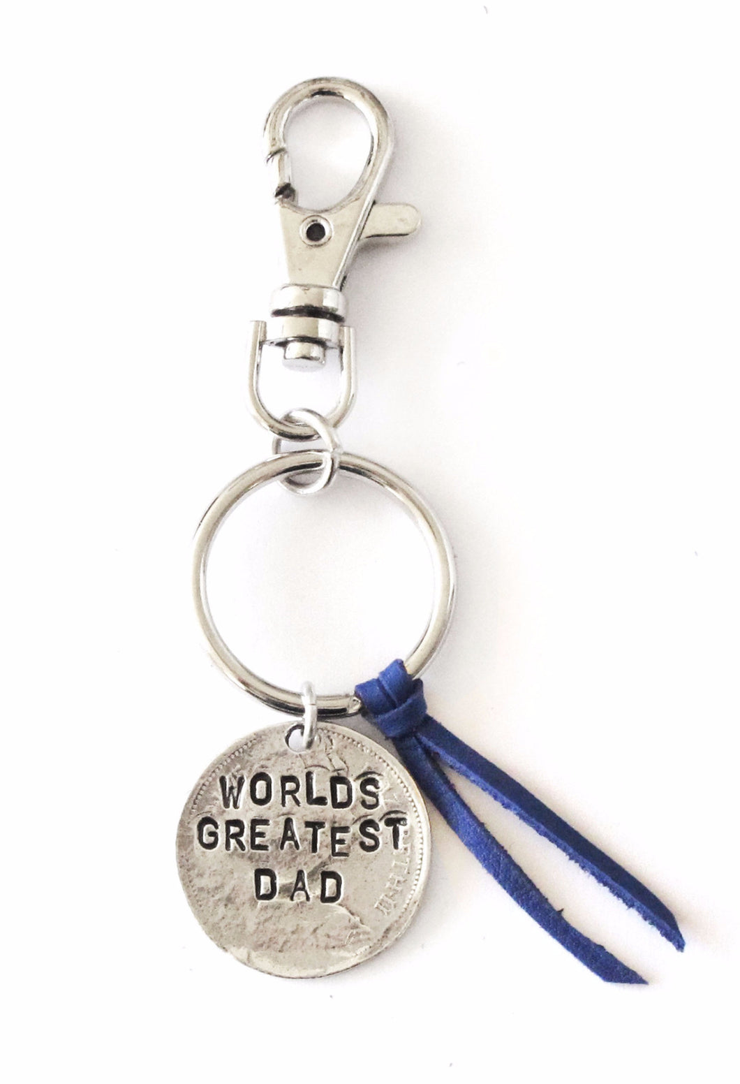 'World's Greatest Dad' Royal Blue Leather Keychain