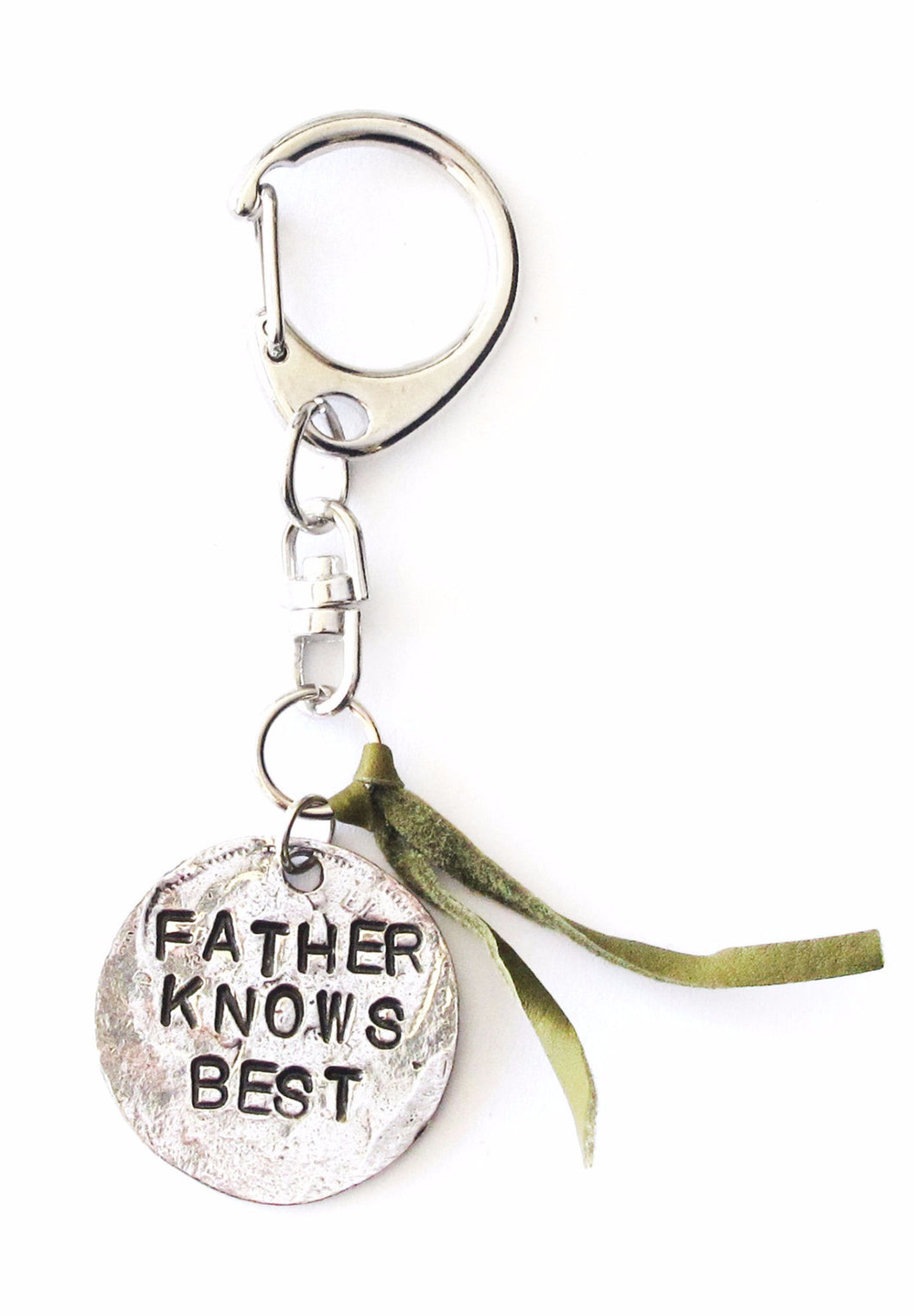 'Father Knows Best' Green Leather Keychain