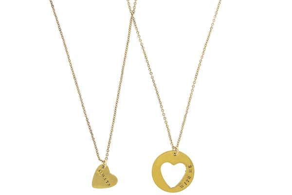 'Always With Me' Heart Cutout Necklace Set