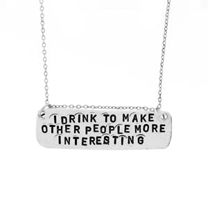 drinking hand stamped necklace