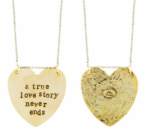 'A True Love Story Never Ends' Heart-Shaped Necklace