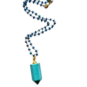 Turquoise Howlite and Apatite Perfume Bottle Necklace