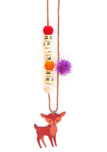 """Be Kind"" Deer Push-Pop Necklace"