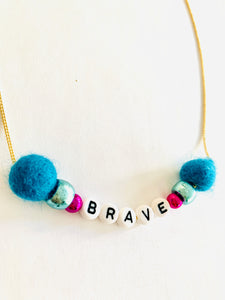 blue meaningful brave necklace
