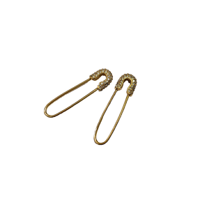 Safety Pin CZ Earrings