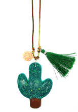 Load image into Gallery viewer, Cactus Resin Necklace + Bookmark