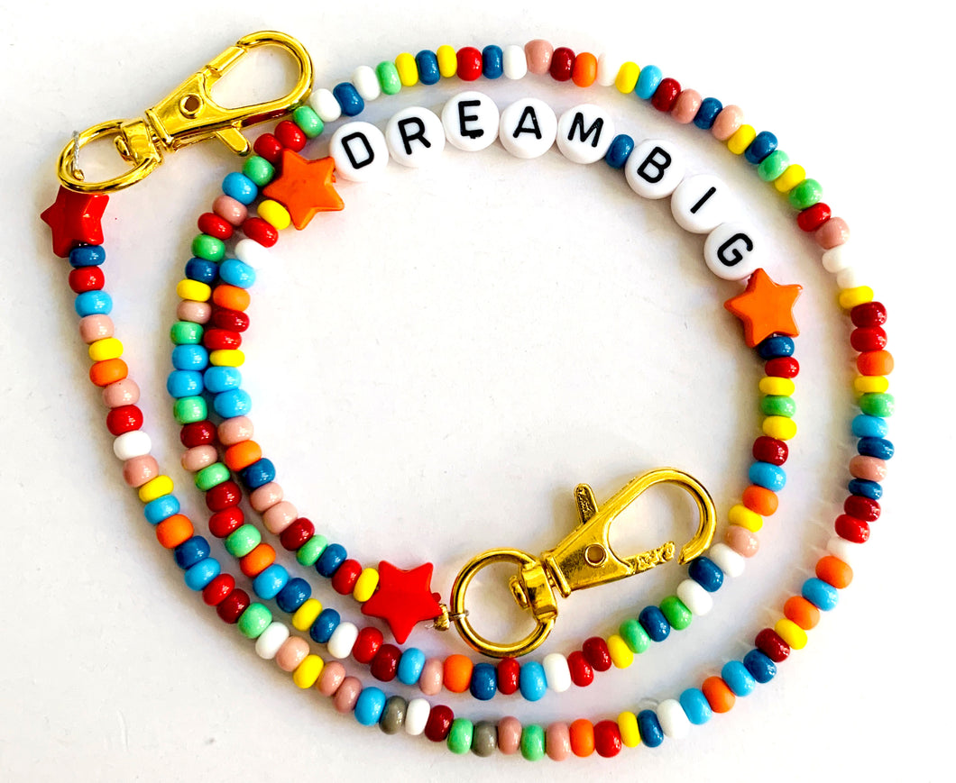 Rainbow Beaded Mask Chain Dream Big