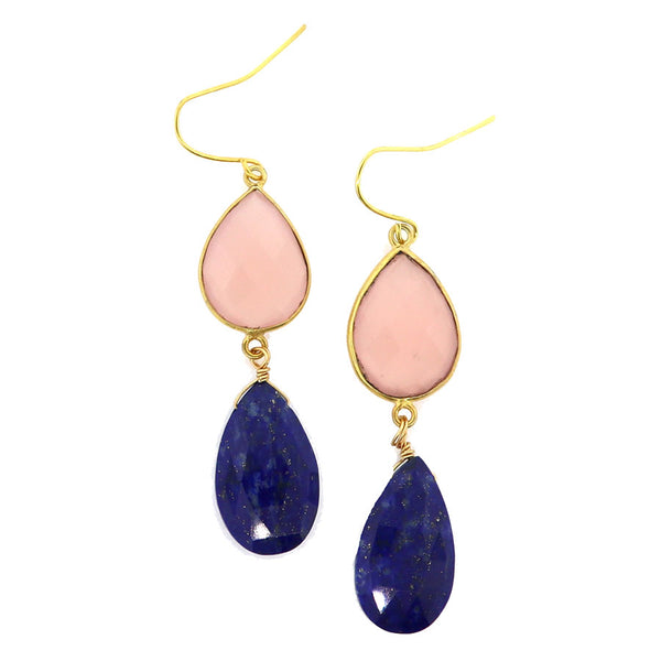 Rose Quartz and Lapis Dangle Earrings