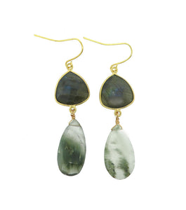 Labradorite and Moss Agate Drop Earrings