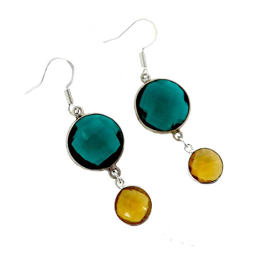 Green and Yellow Quartz Earrings
