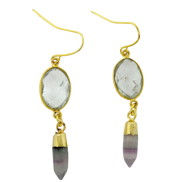 Crystal Quartz and Flourite Drop Earrings