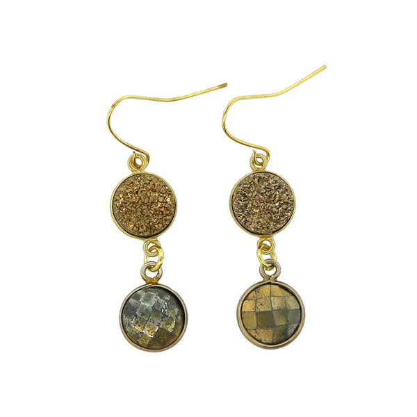 Gold Druzy and Pyrite Dangle Earrings