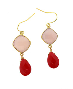 Rose Quartz and Coral Drop Earrings