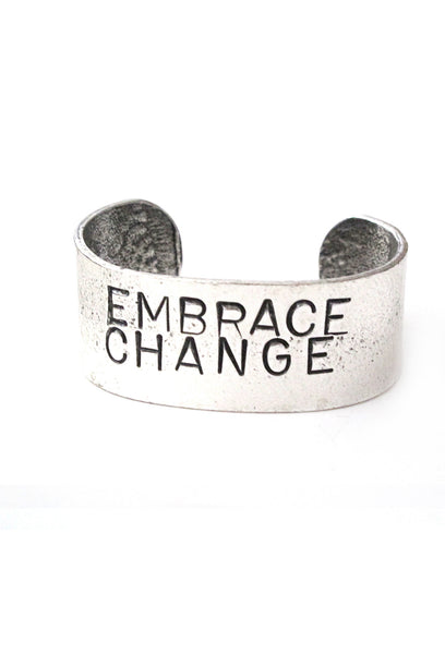 'Embrace Change' Hand Stamped Cuff