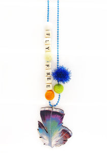 """Fly Free"" Feather Push-Pop Necklace"