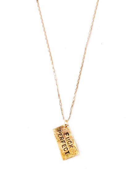 'Fuck Perfect' Hand Stamped Necklace