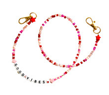Load image into Gallery viewer, Pink Beaded Mask Chain Good Vibes