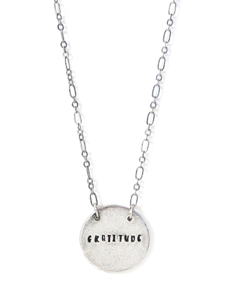 'Gratitude' Hand Stamped Necklace