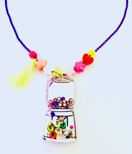 gumball machine with rhinestones necklace