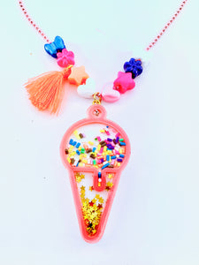 Pink Ice Cream Cone Necklace Shaker Kids Necklace