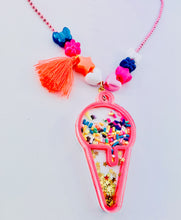 Load image into Gallery viewer, Pink Ice Cream Cone Necklace Shaker Kids Necklace