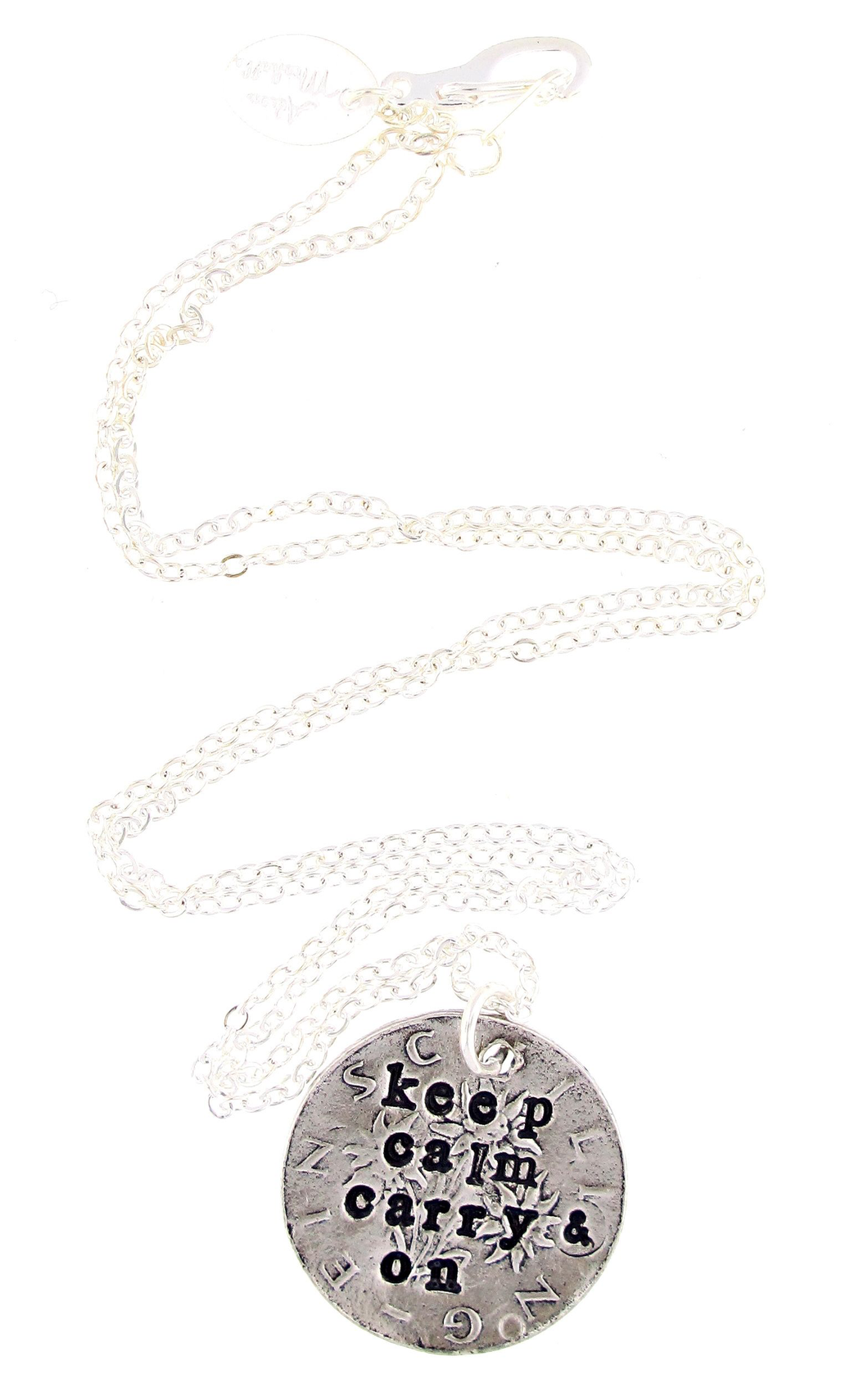 Keep Calm & Carry On Hand Stamped Necklace
